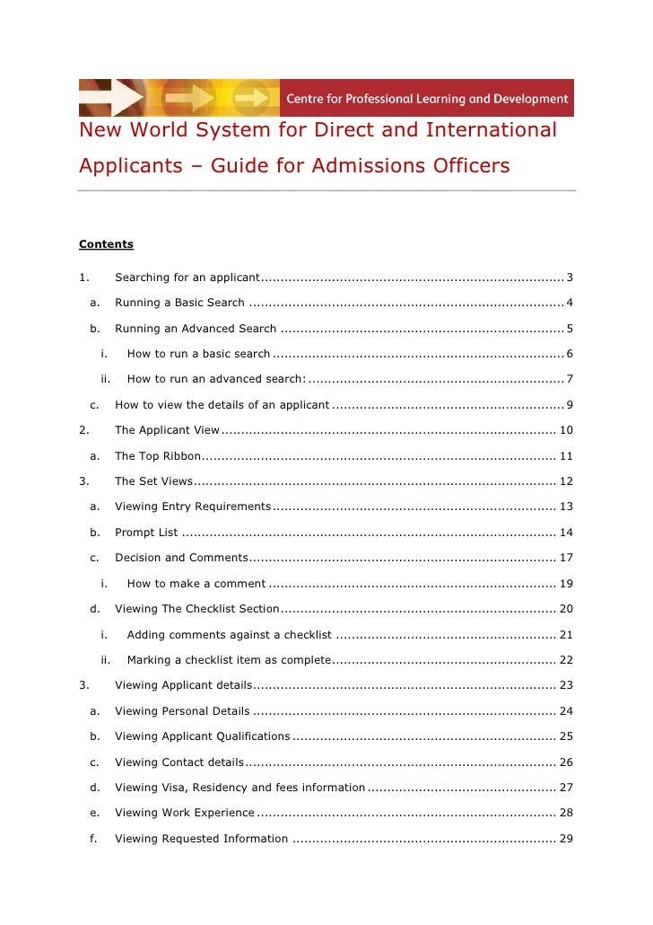 New World System for Direct and InternationalApplicants – Guide for Admissions OfficersContents1.          Searching for a...