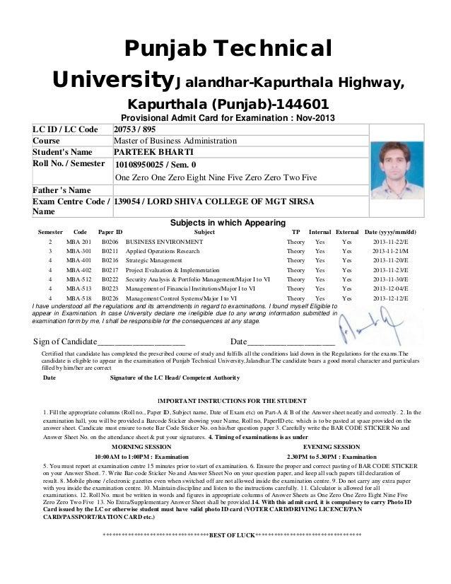 Punjab Technical University Jalandhar-Kapurthala Highway, Kapurthala (Punjab)-144601 Provisional Admit Card for Examinatio...