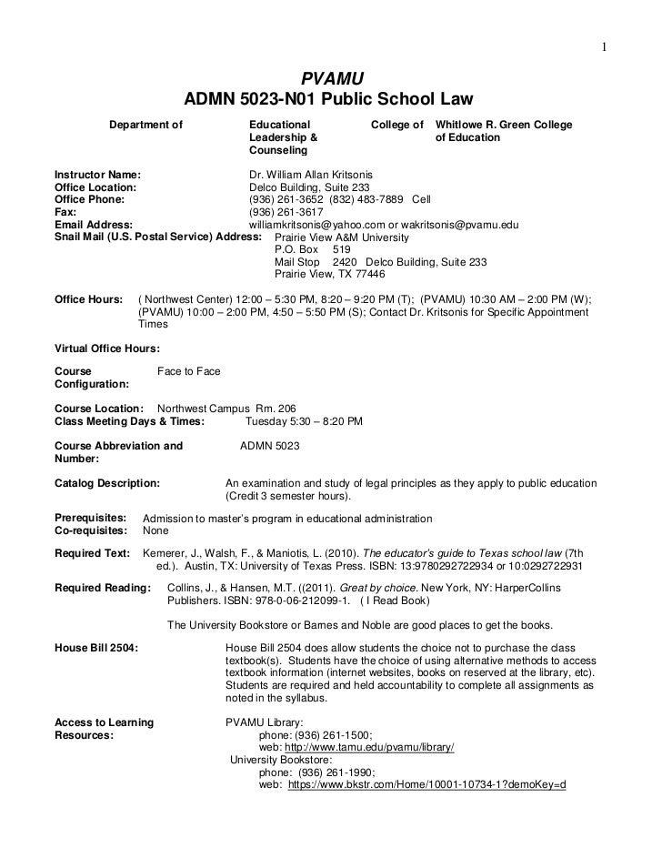 1                                       PVAMU                            ADMN 5023-N01 Public School Law          Departme...