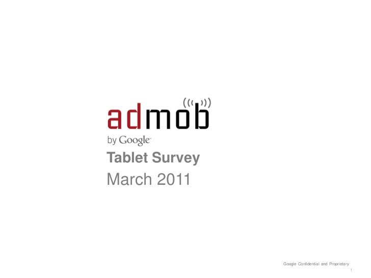 Tablet SurveyMarch 2011                Google Confidential and Proprietary                                                ...