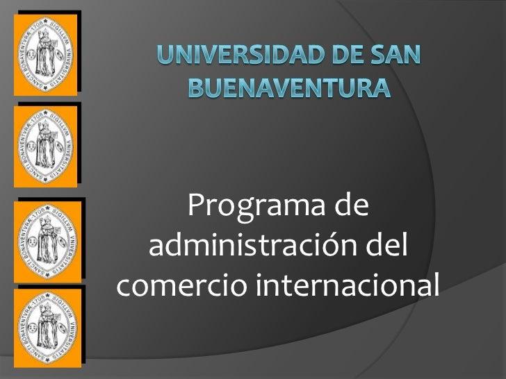 Programa de  administración delcomercio internacional