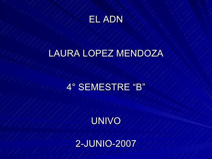 """EL ADN LAURA LOPEZ MENDOZA 4° SEMESTRE """"B"""" UNIVO 2-JUNIO-2007"""