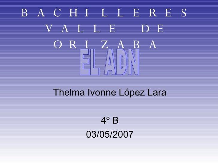 BACHILLERES VALLE DE ORIZABA Thelma Ivonne López Lara 4º B 03/05/2007 EL ADN