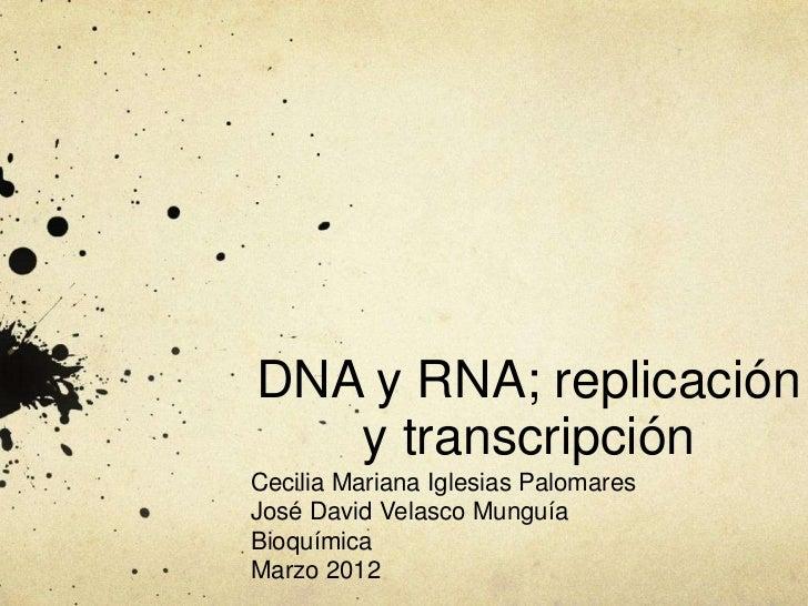 DNA y RNA; replicación   y transcripciónCecilia Mariana Iglesias PalomaresJosé David Velasco MunguíaBioquímicaMarzo 2012