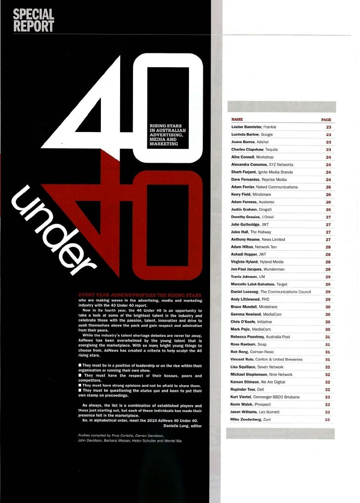 AdNews 40 Under 40 Report (extract)