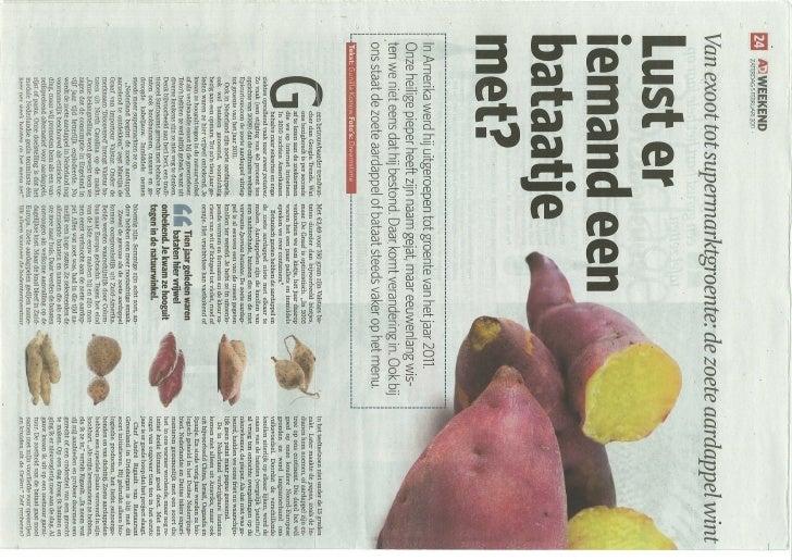 Zoete aardappelen in het nieuws!