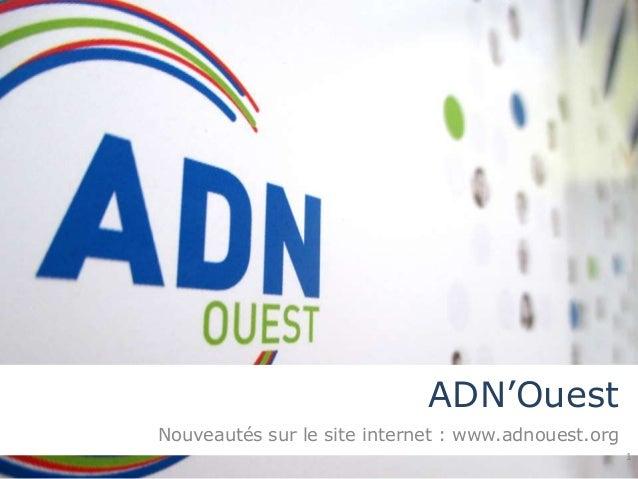 ADN'Ouest  Nouveautés sur le site internet : www.adnouest.org  1