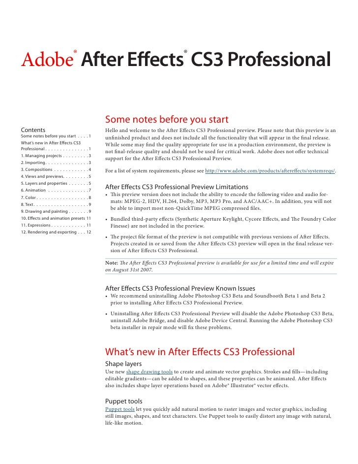 Adobe After Effects CS3 Professional                           ®                                              ®           ...