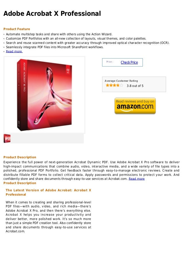 Adobe Acrobat X ProfessionalProduct Featureq   Automate multistep tasks and share with others using the Action Wizard.q   ...