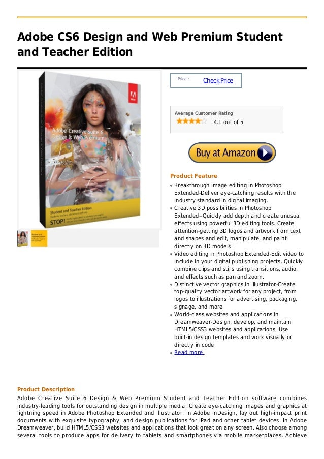 Adobe CS6 Design and Web Premium Studentand Teacher Edition                                                             Pr...