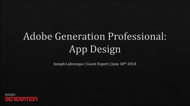 Adobe Generation Professional: App Design