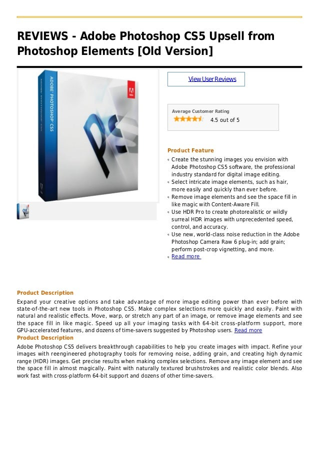 Adobe photoshop cs5 upsell from photoshop elements  [old version]