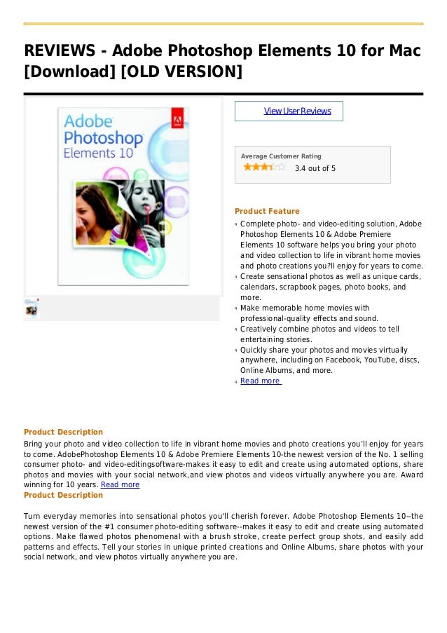 Adobe photoshop elements 10 for mac [download] [old version]