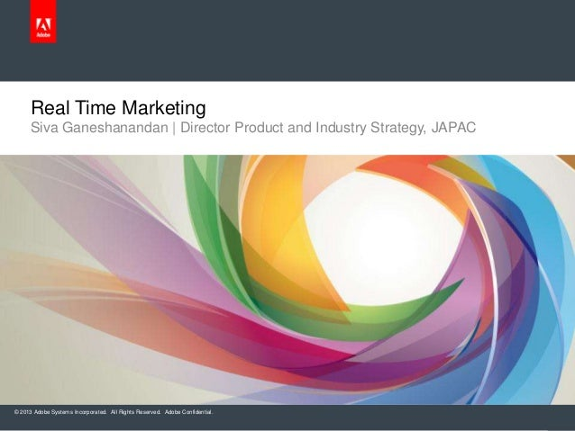 © 2013 Adobe Systems Incorporated. All Rights Reserved. Adobe Confidential.Real Time MarketingSiva Ganeshanandan   Directo...