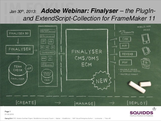 Finalyser – the PlugIn- and ExtendScript-Collection for FrameMaker 11