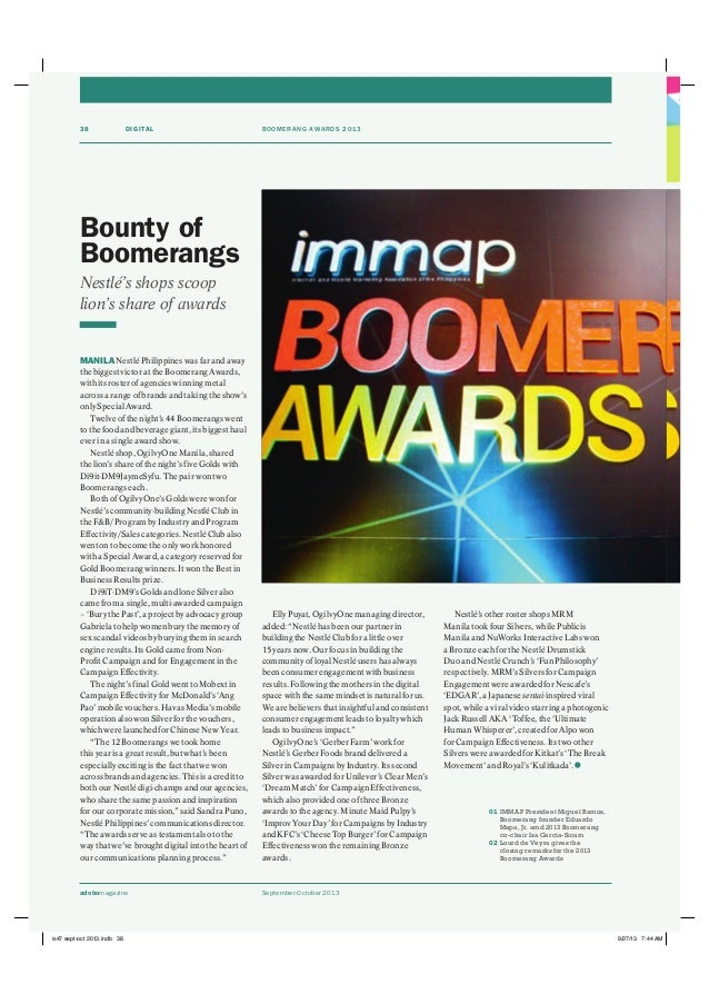 """September-October 2013adobomagazine DIGITAL BOOMERANG AWARDS 201338 Elly Puyat, OgilvyOne managing director, added: """"Nestl..."""