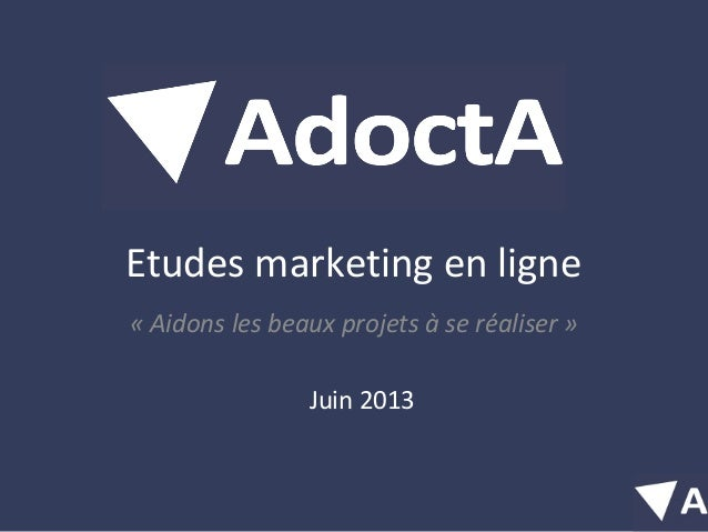 Etudes marketing en ligne«Aidonslesbeauxprojetsàseréaliser»Juin 2013