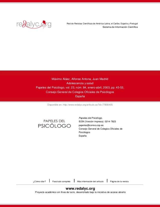 Disponible en: http://www.redalyc.org/articulo.oa?id=77808405 Red de Revistas Científicas de América Latina, el Caribe, Es...