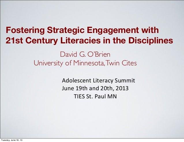 Adolescent literacy summit 2013