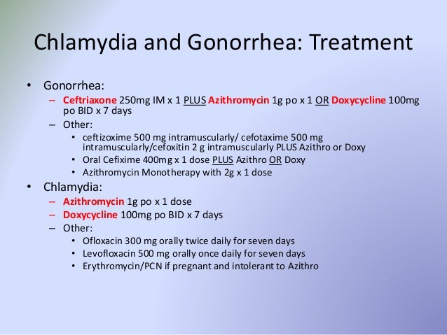 Medical treatment for chlamydia