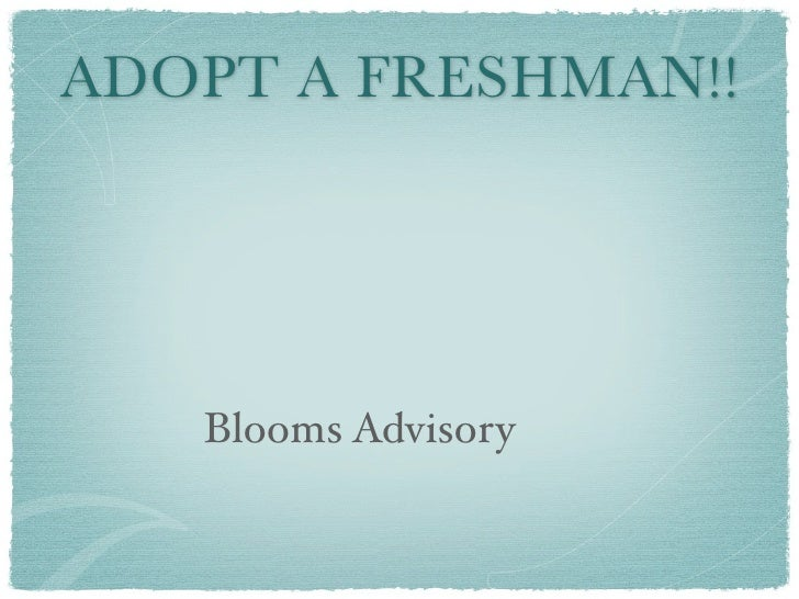 Adopt a fresh - Bloom Advisory