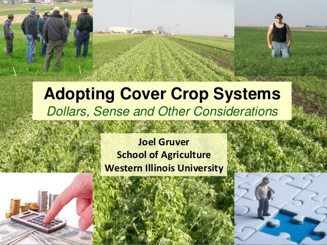 Adopting Cover Crop SystemsDollars, Sense and Other ConsiderationsJoel GruverSchool of AgricultureWestern Illinois Univers...