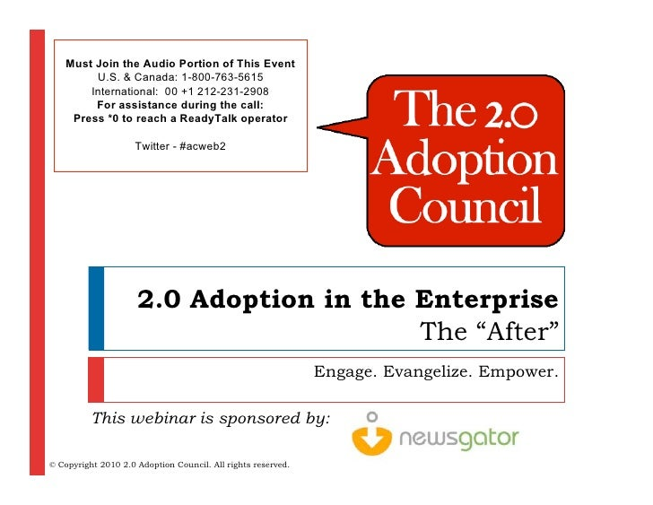 2.0 Adoption in the Enterprise - The After