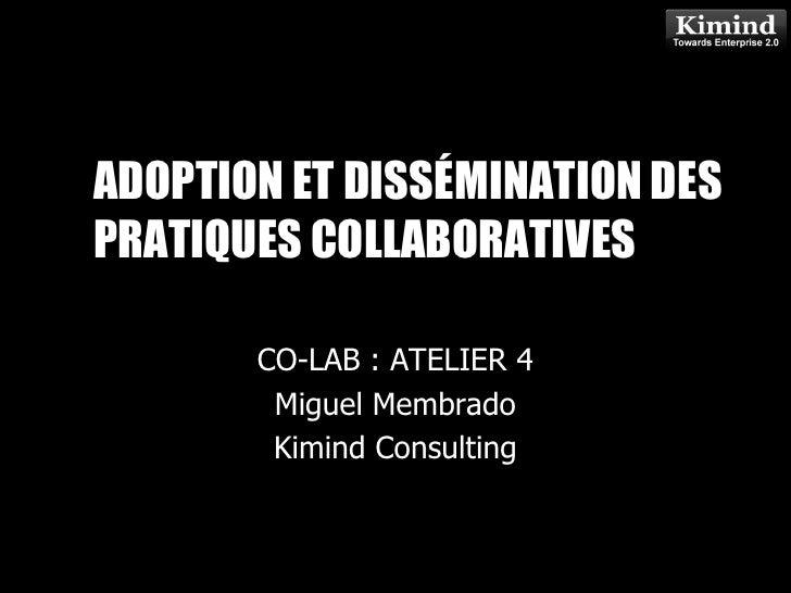 ADOPTION & DISSEMINATION OF COLLABORATIVE PRACTICES<br />CO-LAB : ATELIER 4<br />July 3, 2009<br />Miguel Membrado<br />Ki...