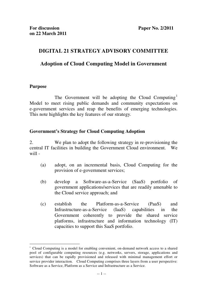 Adoption of cloud computing model in government