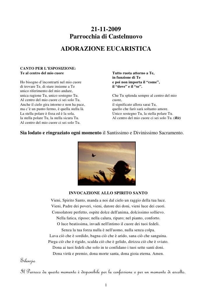 21-11-2009                                 Parrocchia di Castelnuovo                           ADORAZIONE EUCARISTICA  CAN...