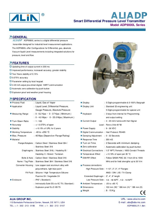 Smart Differential Pressure Level TransmitterModel ADP9000L SeriesGENERALtransmitter designed for industrial level measure...