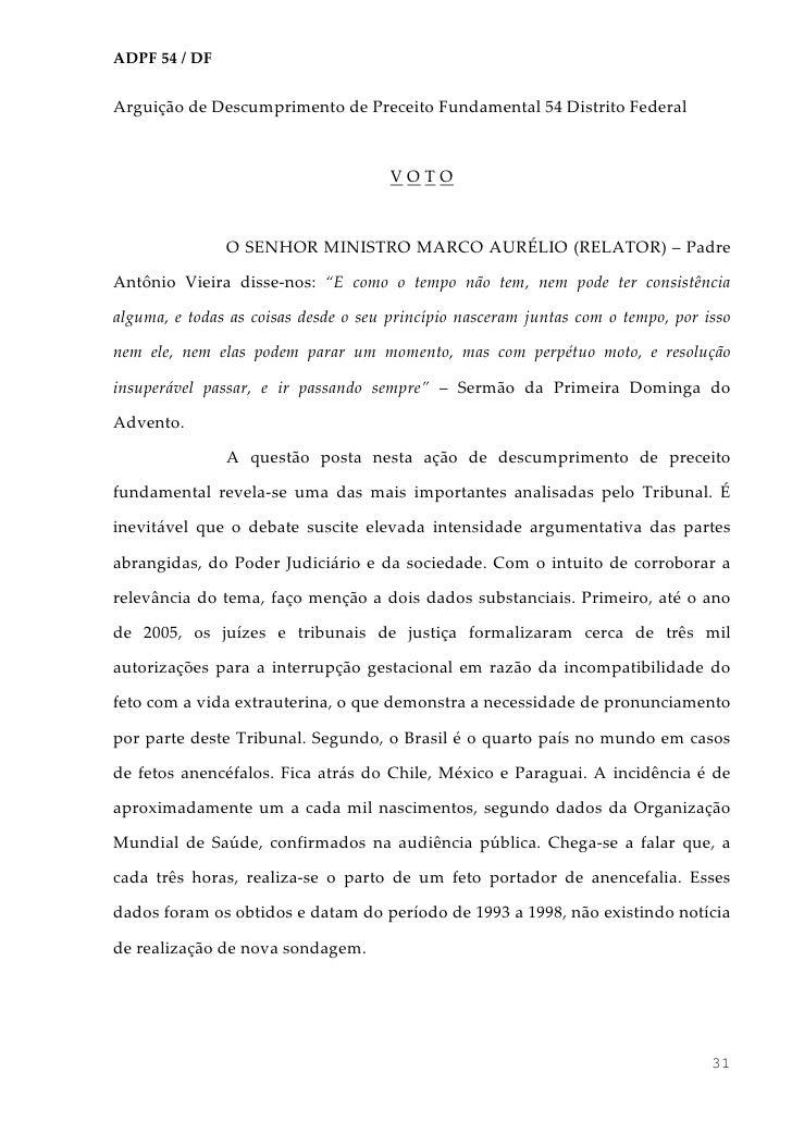ADPF 54 / DFArguição de Descumprimento de Preceito Fundamental 54 Distrito Federal                                      VO...