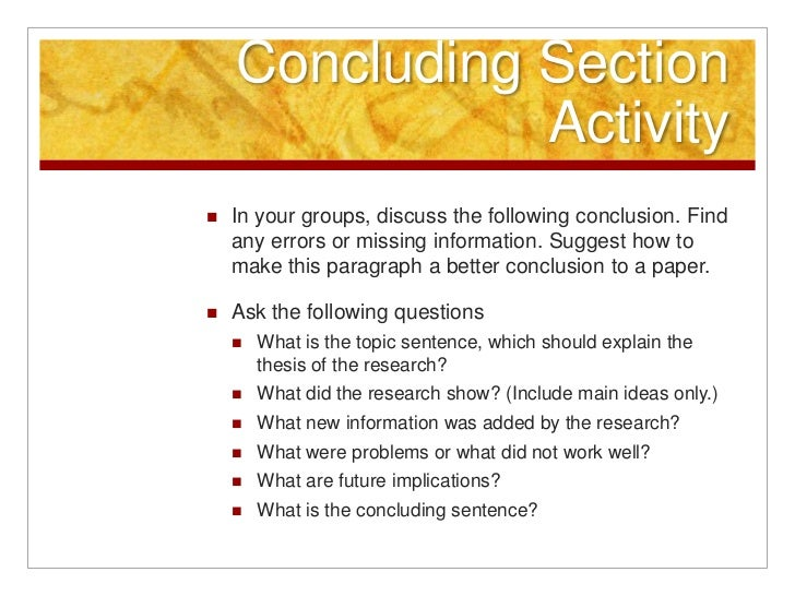 good conclusions for a research paper