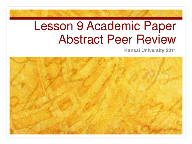 ADP L9  Abstract Peer Review