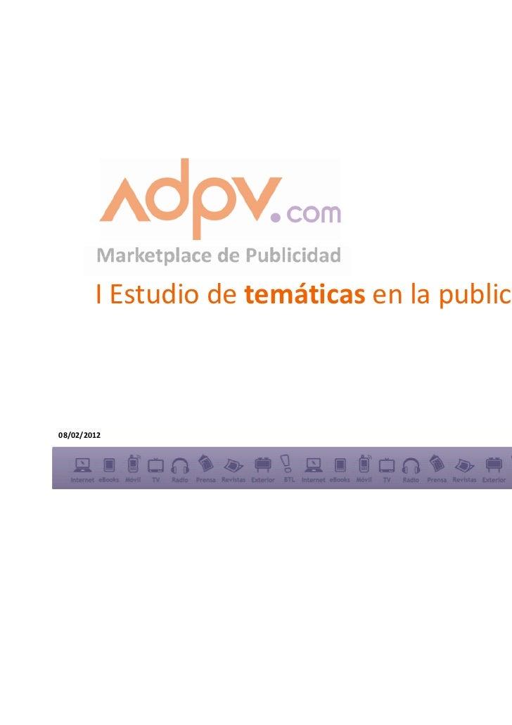 I Estudio de temáticas en la publicidad display08/02/2012