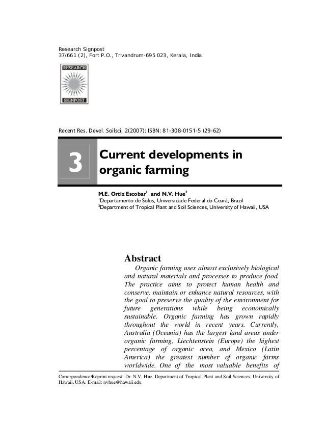 Current Developments in Organic Farming