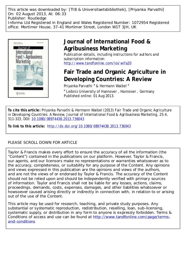 Fair Trade and Organic Agriculture in Developing Countries