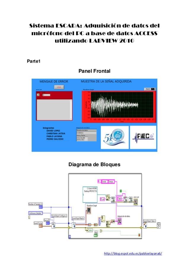 Sistema ESCADA: Adquisición de datos del  micrófono del PC a base de datos ACCESS         utilizando LABVIEW 2010Parte1   ...