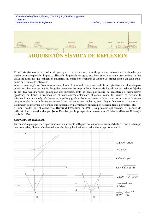 Cátedra de Geofísica Aplicada, U.N.P.S.J.B., Chubut, Argentina. Tema 14 Adquisición Sísmica de Reflexión Chelotti, L., Aco...