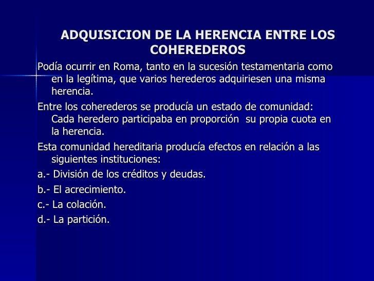 Adquisicion de la Herencia entre los Coherederos