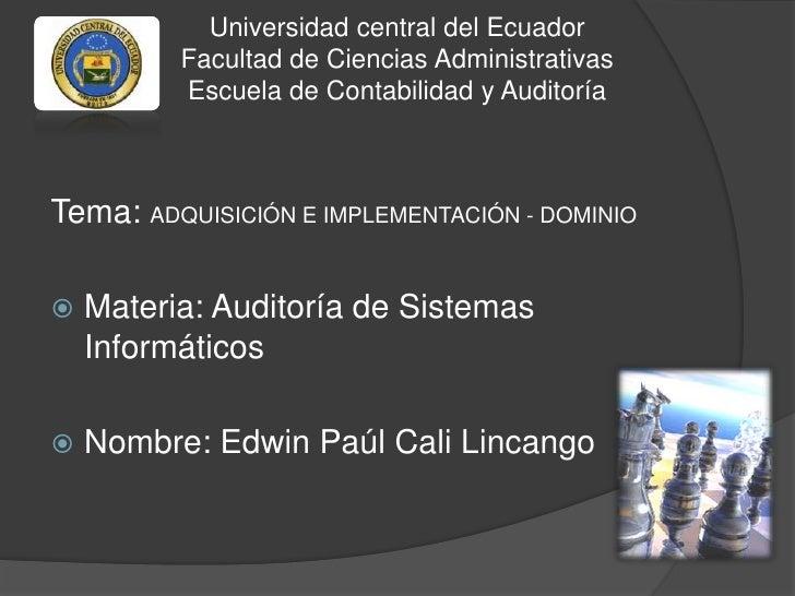 Universidad central del Ecuador          Facultad de Ciencias Administrativas          Escuela de Contabilidad y Auditoría...