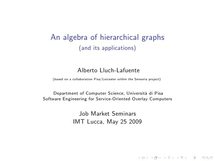 An algebra of hierarchical graphs                     (and its applications)                      Alberto Lluch-Lafuente  ...