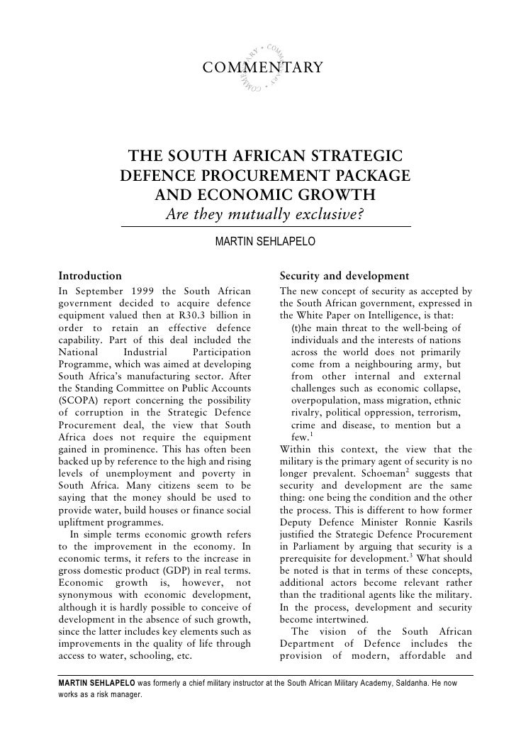 COMMENTARY                       THE SOUTH AFRICAN STRATEGIC                  DEFENCE PROCUREMENT PACKAGE                 ...