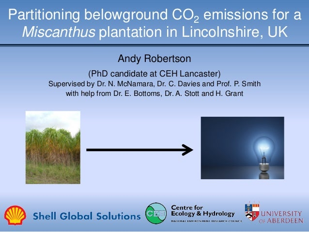 Partitioning belowground CO2 emissions for a Miscanthus plantation in Lincolnshire, UK Andy Robertson (PhD candidate at CE...