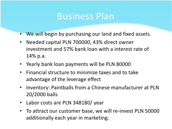 Paintball field business plan
