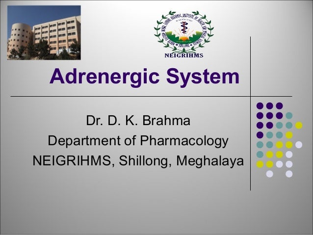 Adrenergic System  Dr. D. K. Brahma  Department of Pharmacology  NEIGRIHMS, Shillong, Meghalaya