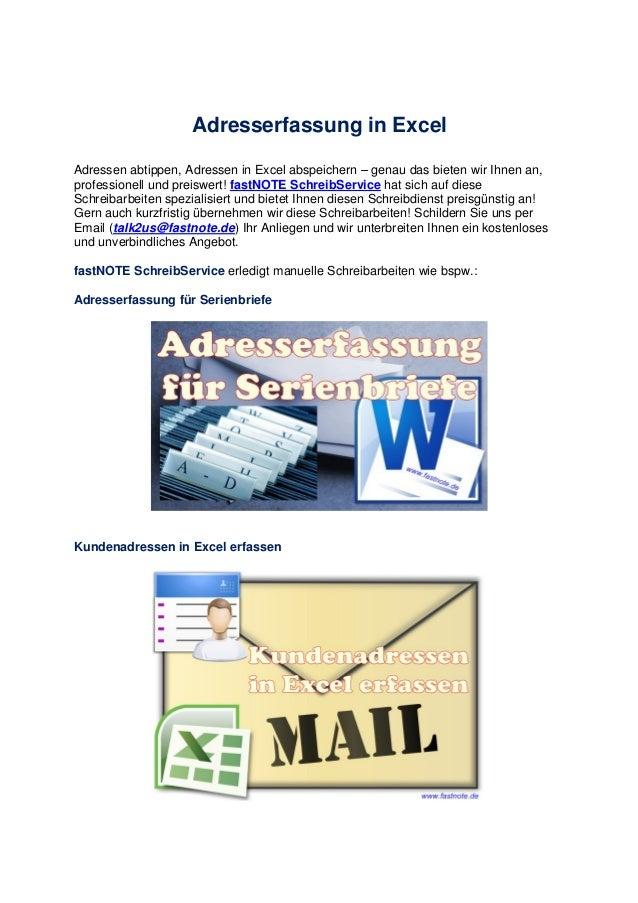 Adresserfassung in Excel Adressen abtippen, Adressen in Excel abspeichern – genau das bieten wir Ihnen an, professionell u...