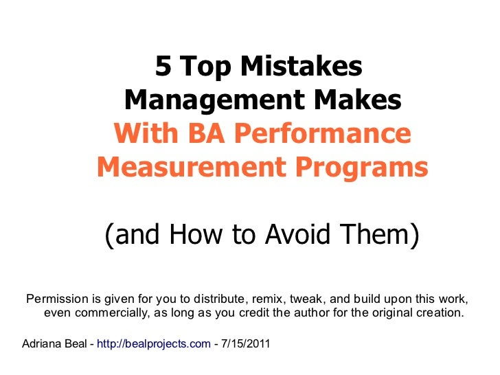 5 Top Mistakes               Management Makes               With BA Performance              Measurement Programs         ...