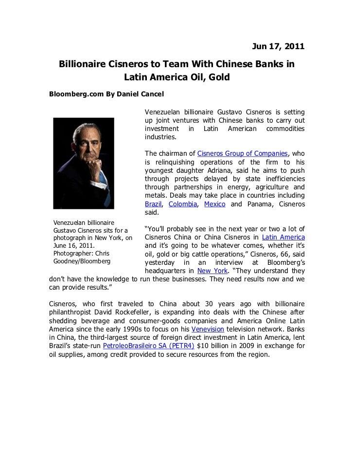 Adriana Cisneros y Gustavo Cisneros en entrevista con Bloomberg