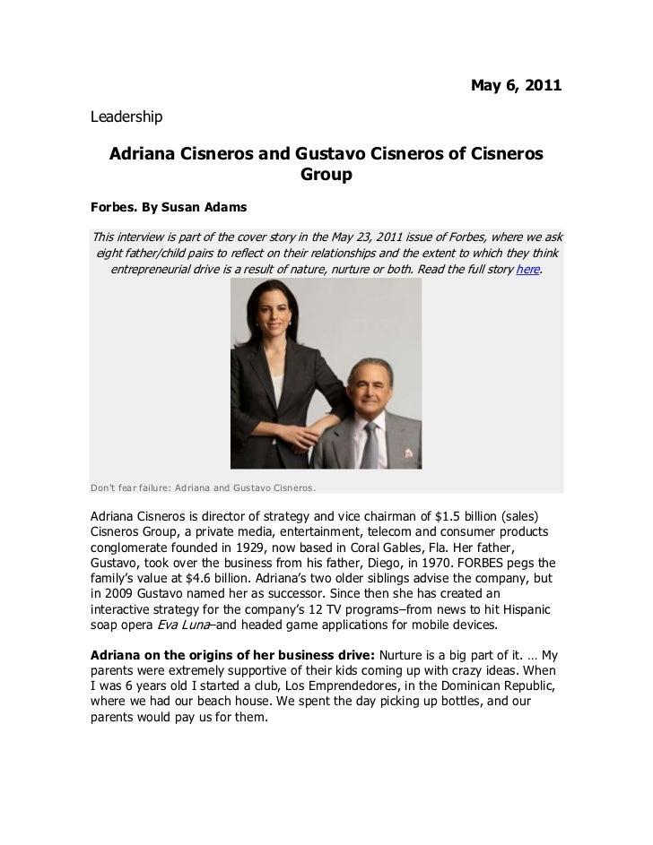 Adriana Cisneros y Gustavo Cisneros en entrevista con Forbes